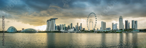 Singapore financial district skyline at Marina bay on cloudy day, Singapore city, South east asia.