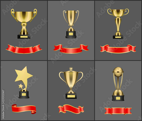 Prizes and Trophies Icons Set Vector Illustration © robu_s