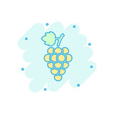 Vector cartoon grape fruit with leaf icon in comic style. Wine sign illustration pictogram. Grapevine business splash effect concept.