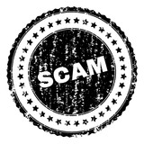 SCAM seal stamp with corroded texture. Black vector rubber print of SCAM tag with corroded texture. Rubber seal imitation has round shape and contains stars. - 231316249