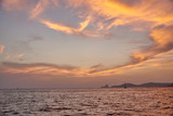 Balearic sunset from La Savina in Formentera with Es Vedra of Ibiza in background
