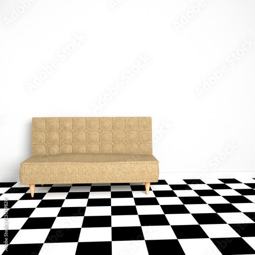 sofa in room, 3D rendering