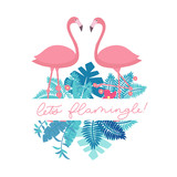 Let's flamingle lettering inscription for party or greeting card. Cute pink flamingo with tropical leaves. Vector cute summer quote,