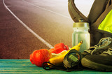 A set of items for running training at the stadium - 231324467