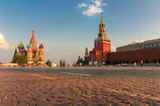 Red square in Moscow at sunset with Kremlin Wall and St Basil Cathedral. Moscow Russia. - 231328271