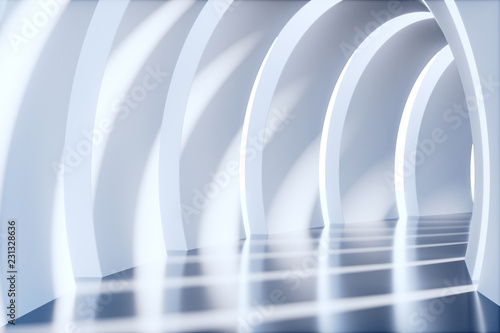 Fototapety, obrazy : Empty tunnel, 3d rendering tech display stage.