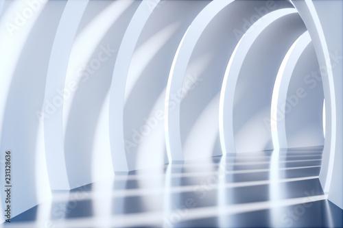 Zdjęcia na płótnie, fototapety na wymiar, obrazy na ścianę : Empty tunnel, 3d rendering tech display stage.