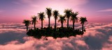 Island in paradise. Tropical island with palm trees in the clouds at sunset 3d rendering - 231356492
