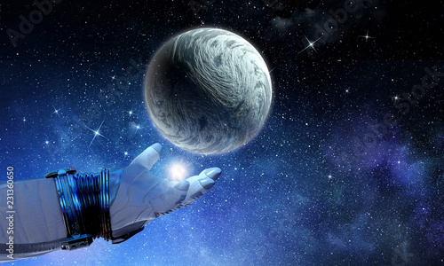 Moon planet in spaceman hand. Mixed media