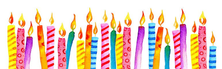 Stylized birthday candles in a row. Hand drawn cartoon watercolor sketch illustration © Alexandra