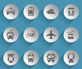 public transport web icons on light paper circles
