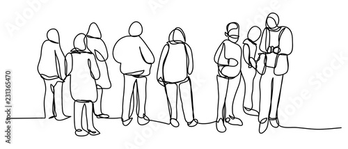 Continuous line art or One Line Drawing of people walking, photographing, talking, traveling - 231365470