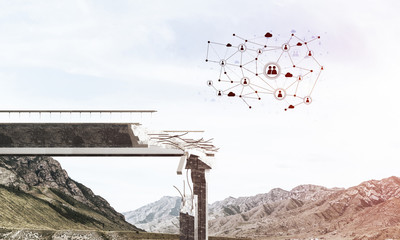 Damaged stone bridge as idea for problem and social connection c © adam121