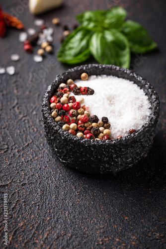 Salt and pepper in  bowl