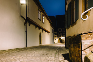 old street in Bamberg at night