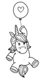 Vector cute  unicorn with balloon,  black silhouette  isolated on white for coloring. - 231395488