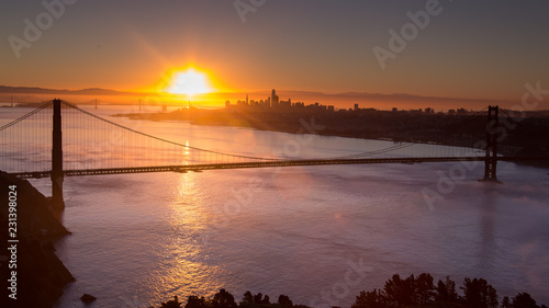 San Francisco Golden Gate Bridge Low Fog Morning Sunrise
