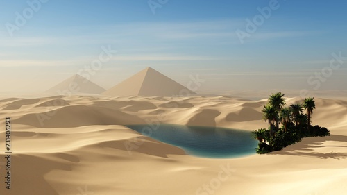 Oasis in the sandy desert against the backdrop of the pyramids - 231406293