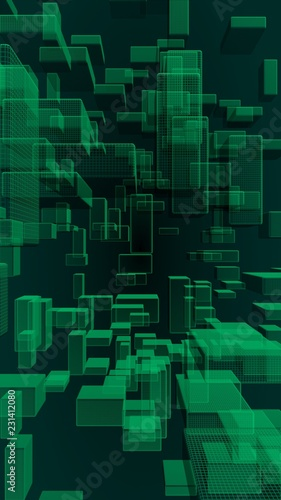 Green and dark abstract digital and technology background. The pattern with repeating rectangles. 3D illustration - 231412080