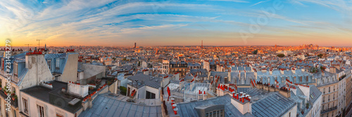 Aerial panoramic view from Montmartre over Paris roofs at nice sunrise, Paris, France - 231414279