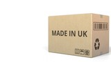 Falling carton with MADE IN UK text, 3D animation - 231424842