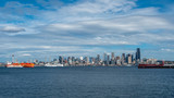 Downtown Seattle Skyscrapers with Multiple Boats in the Bay - 231428298