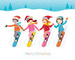 Children Snowboarding Together, Winter Season, Christmas, New Year, Xmas, Festive, Celebrations, Holiday