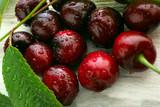 cherry ripe on a light background, closeup , berry of the season