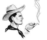Cowboy character with a smoking cigarette. Ink black and white drawing - 231440016