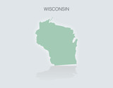 Map of the State of Wisconsin in the United States