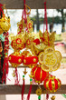 Vietnamese and Chinese New Year decorations red and gold colors on a street. Hue, Vietnam.