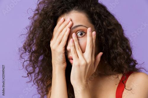 Leinwanddruck Bild Close up portrait of a terrified woman