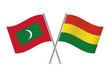 Bolivia and Maldives flags. Vector illustration.