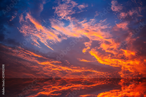 Fiery orange sunset sky - 231452008