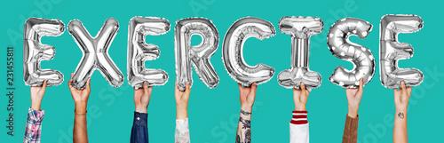 Leinwanddruck Bild Hands showing exercise balloons word