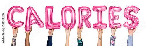 Leinwanddruck Bild Hands showing calories balloons word