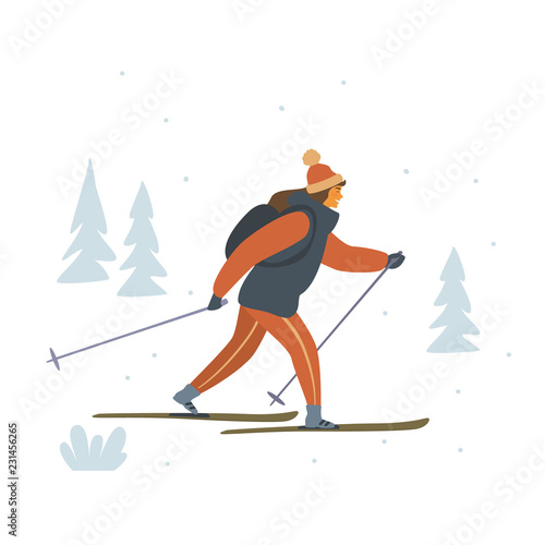 woman cross country skiing isolated vector illustration scene