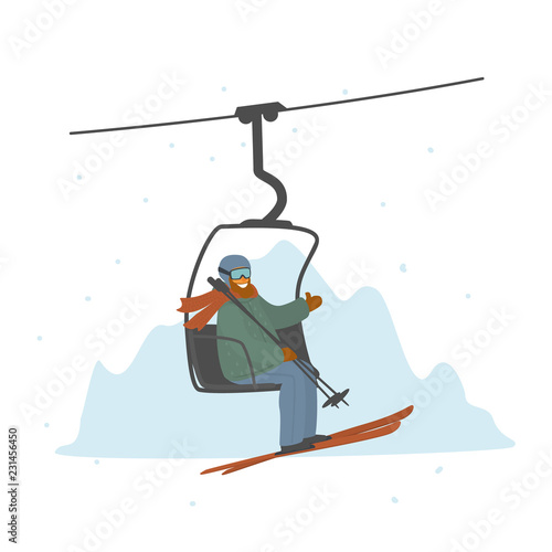 fototapeta na ścianę man skier in a ski lift isolated vector illustration graphic