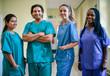 Leinwanddruck Bild - Medical team at a hospital