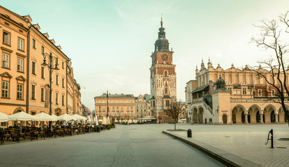 Panorama of Krakow old town, Poland