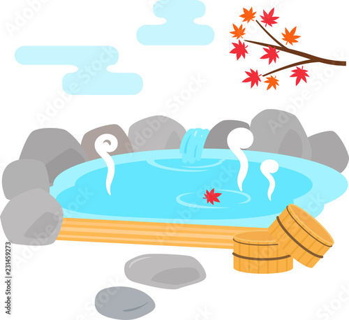 Onsen z gorących wiosennych i jesiennych liści