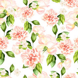 Beautiful watercolor pattern with flowers of roses and peonies. - 231460495