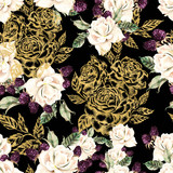 Beautiful watercolor and golden graphic seamless pattern with roses and berries flowers. - 231460606