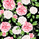 Beautiful bright watercolor pattern with peony and hydrangea flowers.  - 231460649