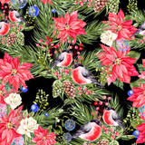 Beautiful watercolor Christmas pattern with bullfinch birds, pine cones and Christmas tree. - 231460690