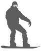 Silver Snowboarder Flat Icon on White Background