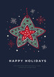 Happy New Year. Christmas card template with the image of a gingerbread star on a black background. Hand drawn symbol of Holiday. Festive seasonal vector illustration.