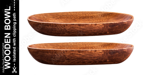Empty long wooden bowl isolated on white background
