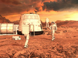 Astronauts  and Mars habitat on Planet Mars surface. 3D rendering. - 231477075