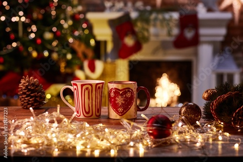 Christmas still life with mugs and fireplace © nyul